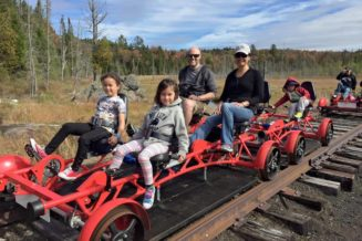 "Offer human powered ""rail bike"" rides on unused rail lines"