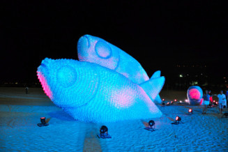 Giant fish made from discarded soda bottles in Rio