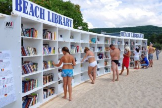 A free  library on a beach in Bulgaria