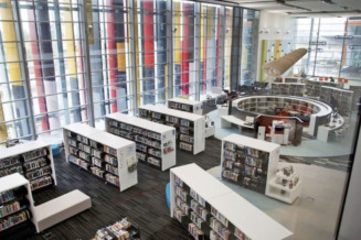 Create a new library as a downtown attraction and an economically vibrant urban space.