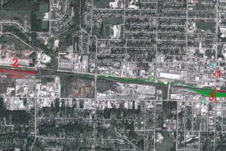 Relocate the railway yard West in front of Skeena Saw Mills; build an overpass at Kalum
