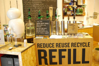 Refilling stations for bulk food products (refilling olive oil bottles, etc) and cleaning products.
